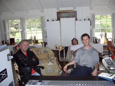 Barry Gibb and John Merchant at a home studio